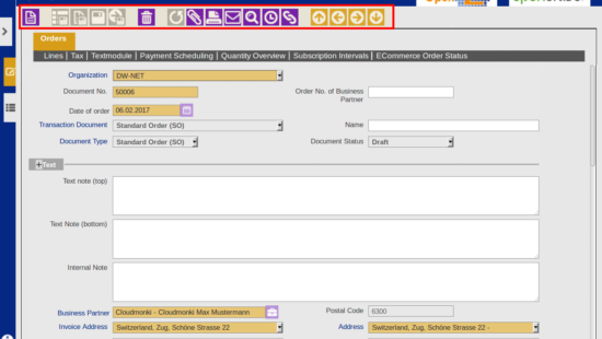 ERP easy to use navigation options with keyboard shortcuts
