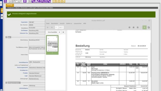 ERP Purchase Order PDF creation